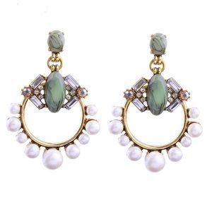 Mint Gemstone & Ring of Pearls Statement Earrings